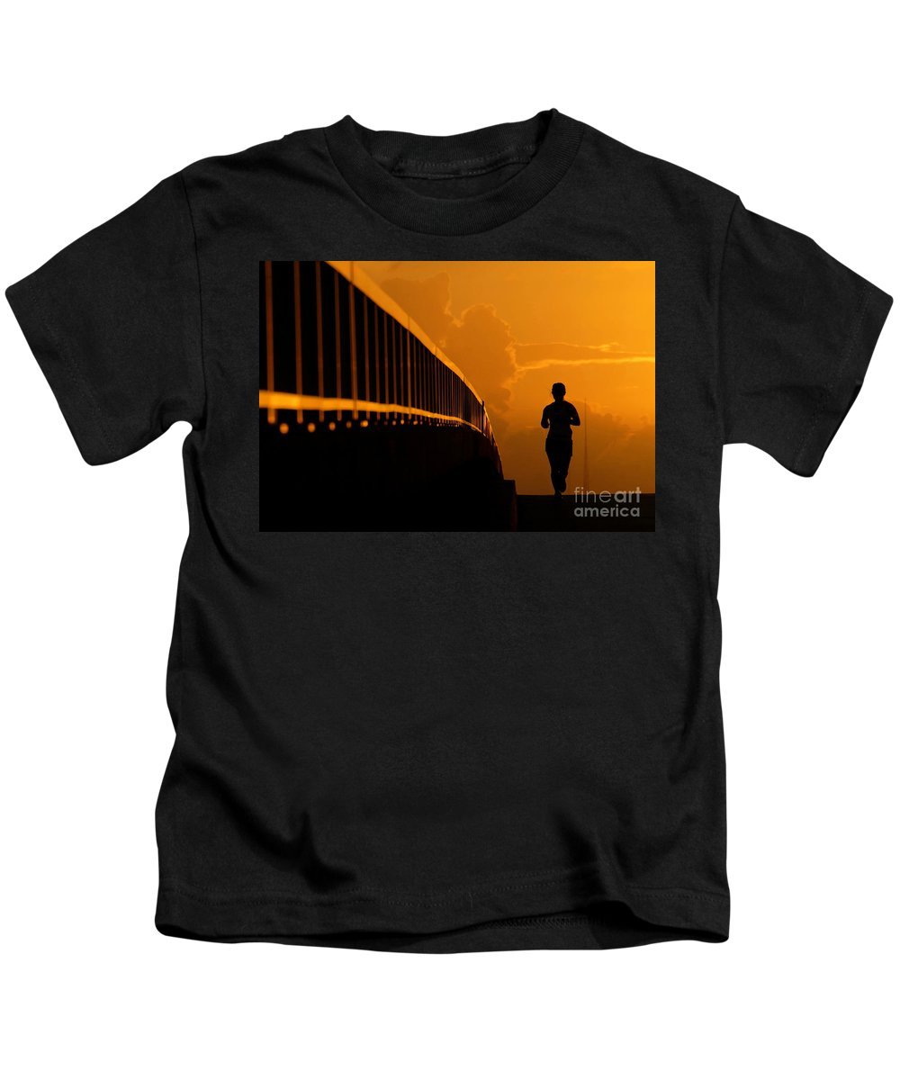 Running Kids T-Shirt featuring the photograph Running Girl by David Lee Thompson