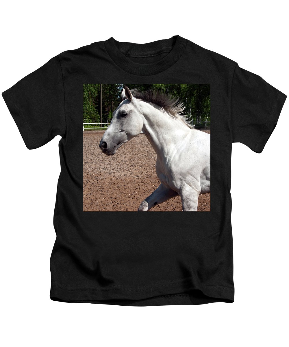 Horse Kids T-Shirt featuring the photograph Running Horse by Jarmo Honkanen