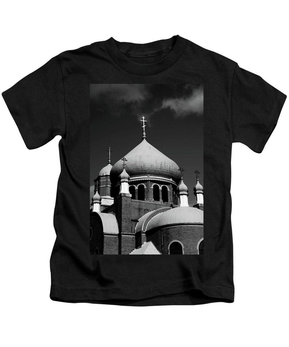 Russian Kids T-Shirt featuring the photograph Russian Orthodox Church Bw by Karol Livote