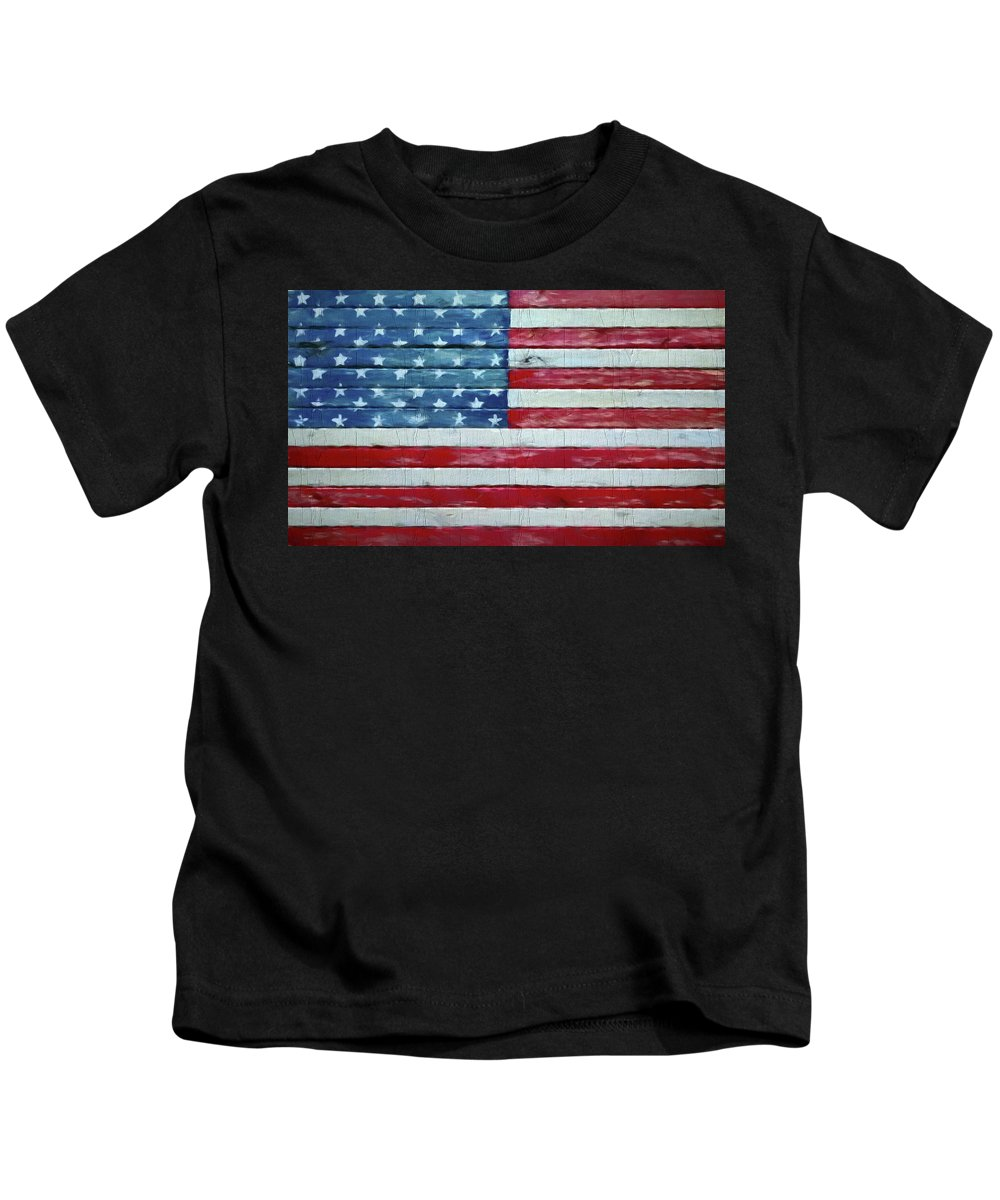 Rustic American Flag On Wood Kids T-Shirt featuring the mixed media Rustic American Flag On Wood by Dan Sproul