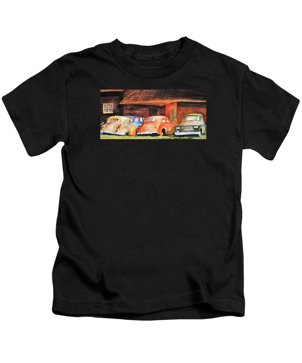 Car Kids T-Shirt featuring the painting Rusting by Karen Stark