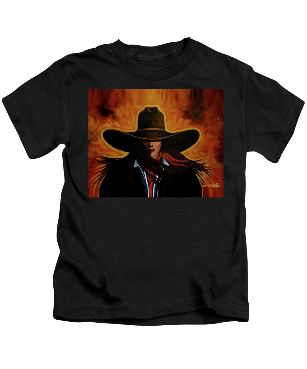 Cowgirl Kids T-Shirt featuring the painting Rusty by Lance Headlee