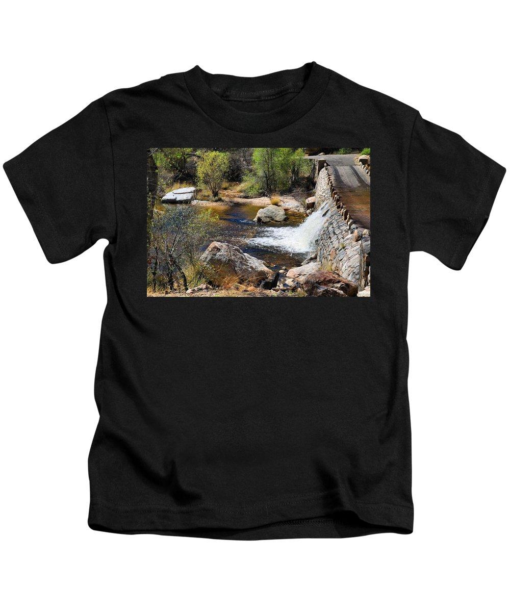 Waterfall Kids T-Shirt featuring the photograph Sabino Creek Falls by Kathryn Meyer