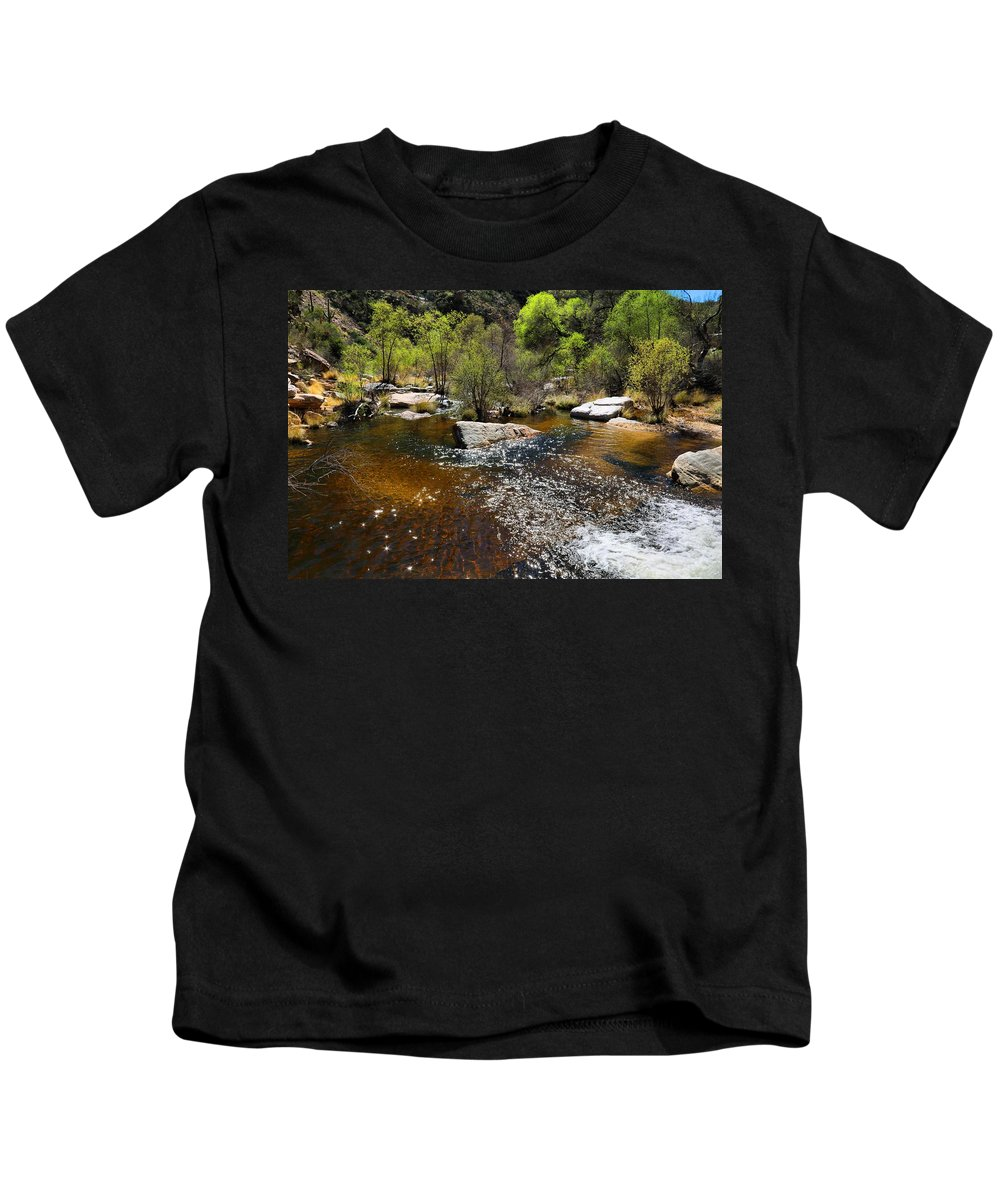 Sabino Creek Kids T-Shirt featuring the photograph Sabino Creek by Kathryn Meyer