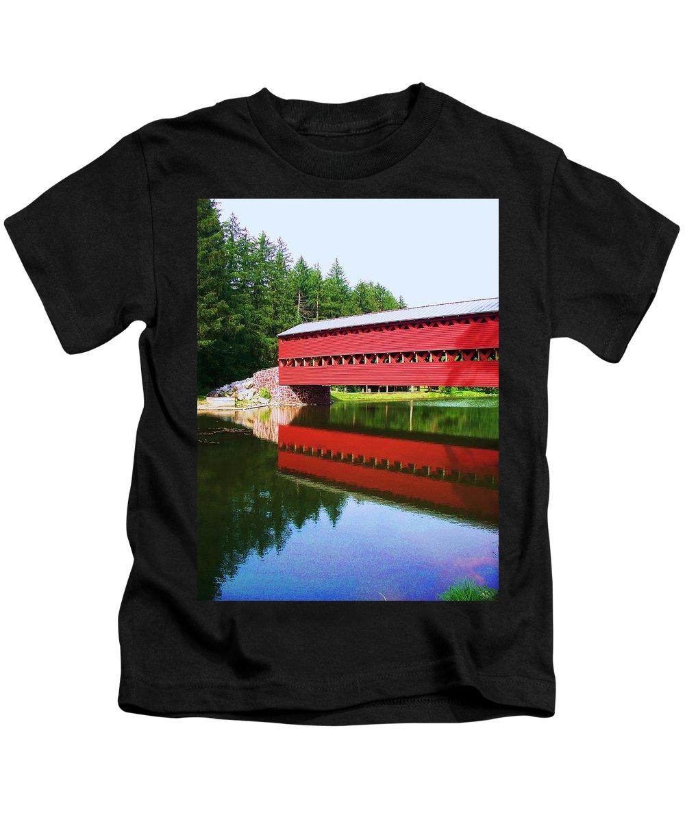 Sachs Bridge Kids T-Shirt featuring the painting Sachs Bridge by Eric Schiabor