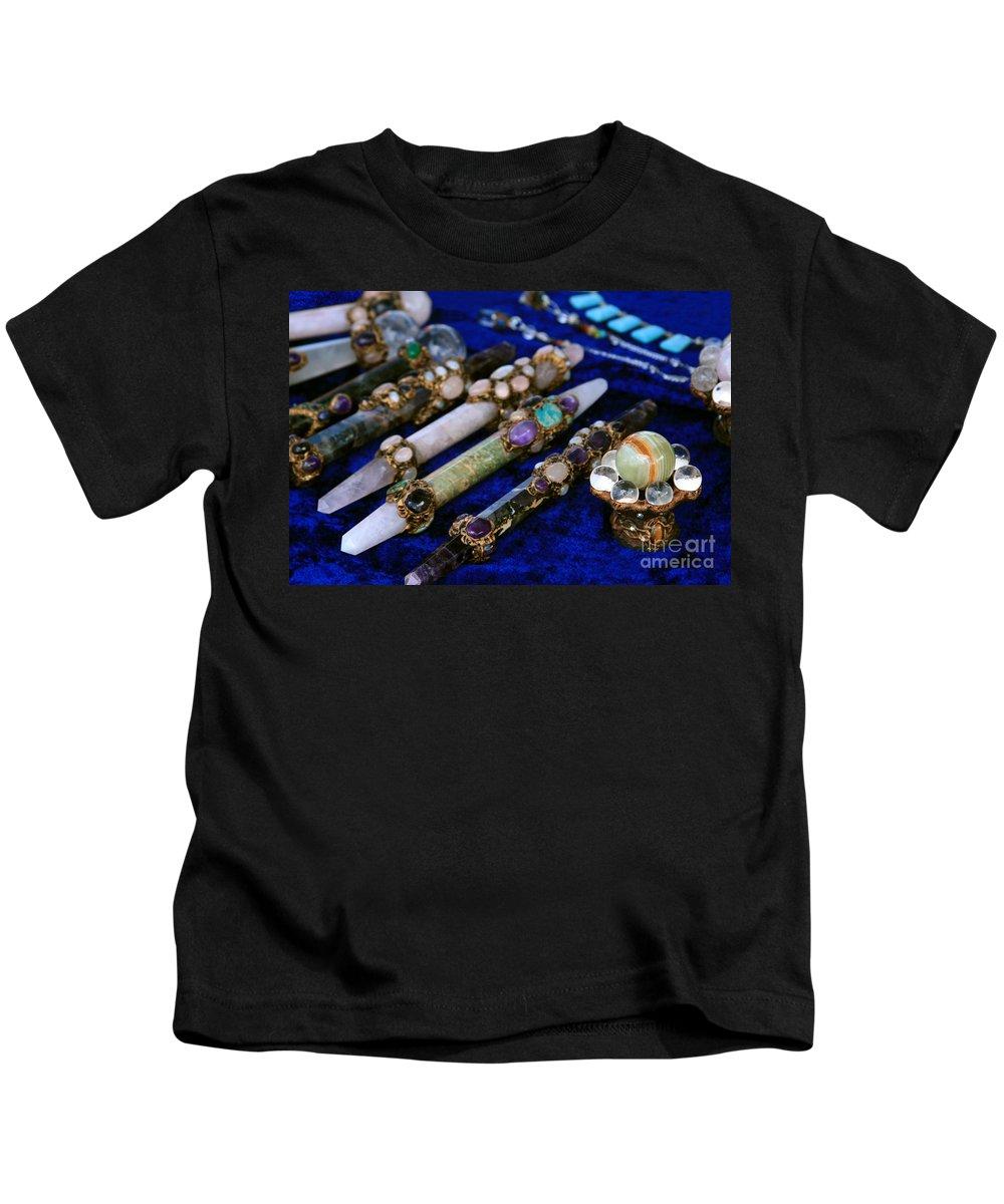 Aloha Kids T-Shirt featuring the photograph Sacred Gemstones Energy Amulets Crystal Balls Magic Wands by Sharon Mau