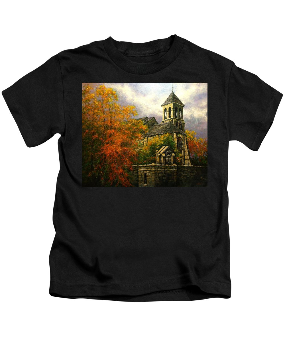 Paris Kids T-Shirt featuring the painting Sacred Heart Chapel Paris by Jim Gola
