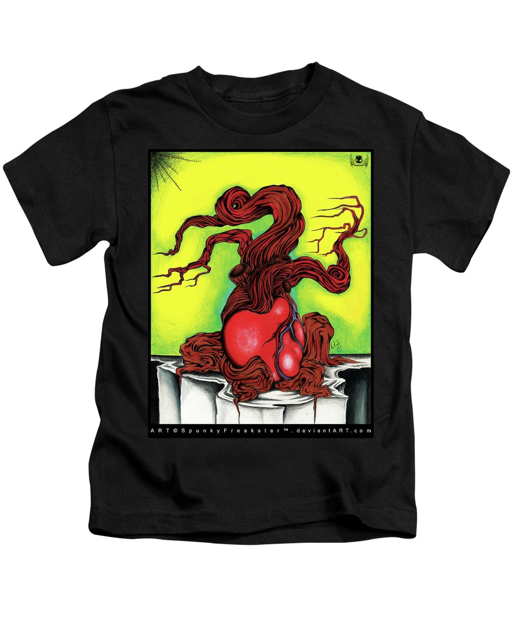 Heart Kids T-Shirt featuring the drawing Sacred Heart by Spunky Freakster