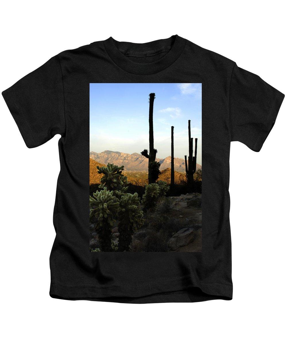 Saguaro Kids T-Shirt featuring the photograph Saguaro Silhouette by Jill Reger