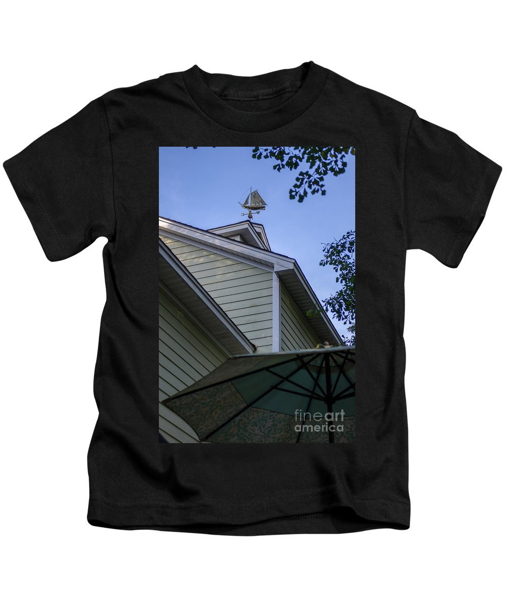 Weather Vane Kids T-Shirt featuring the photograph Sail Boat Weather Vane by Dale Powell