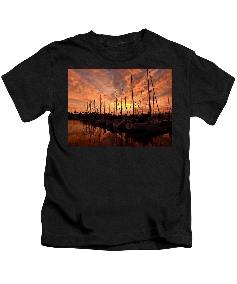 Sail Kids T-Shirt featuring the photograph Sailboat Sunset by Greg Kear