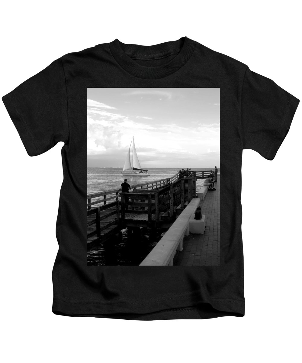 Sailboat Kids T-Shirt featuring the photograph Sailing By The Old Pier by Jonetia Saunders