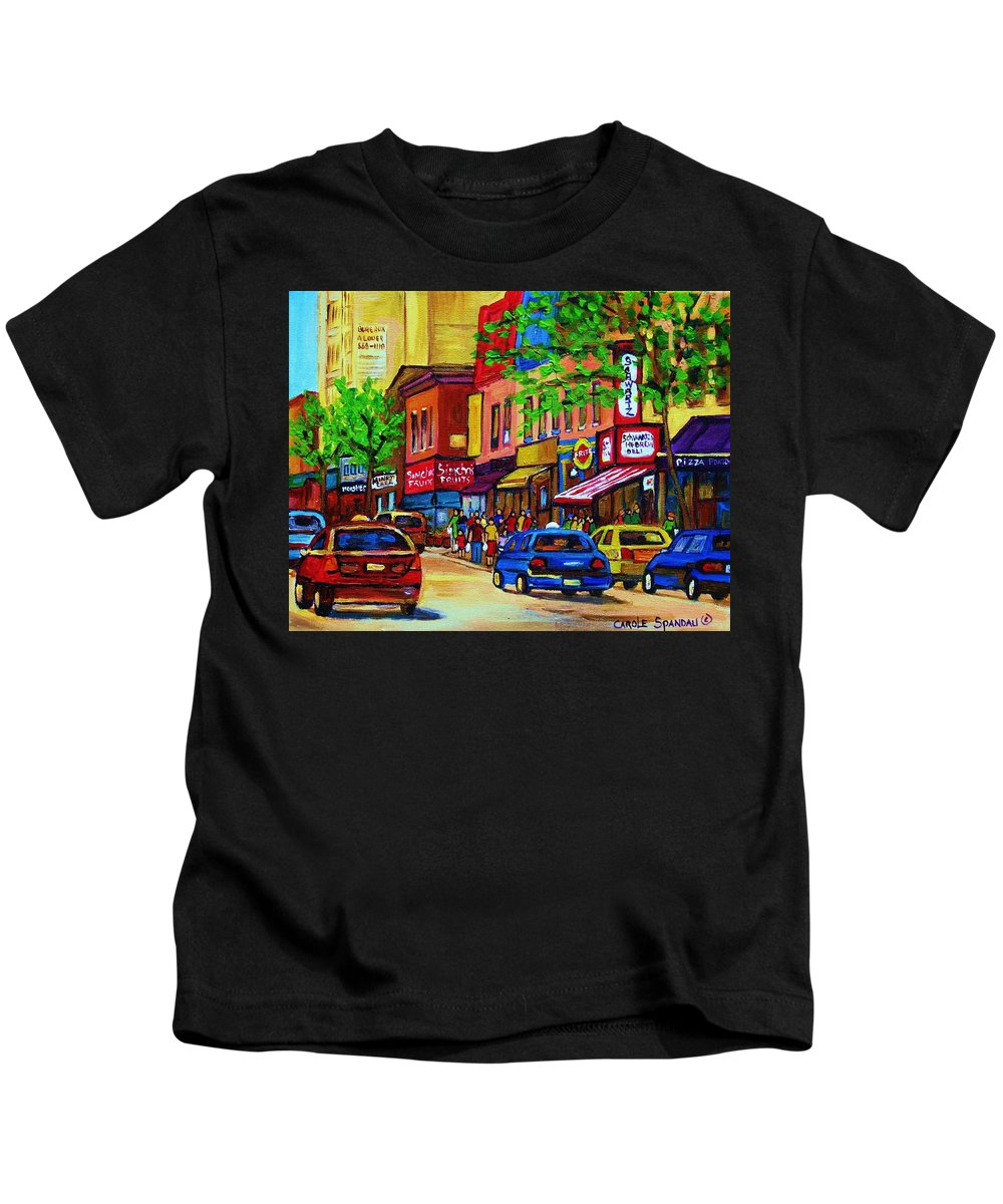 Cityscape Kids T-Shirt featuring the painting Saint Lawrence Street by Carole Spandau