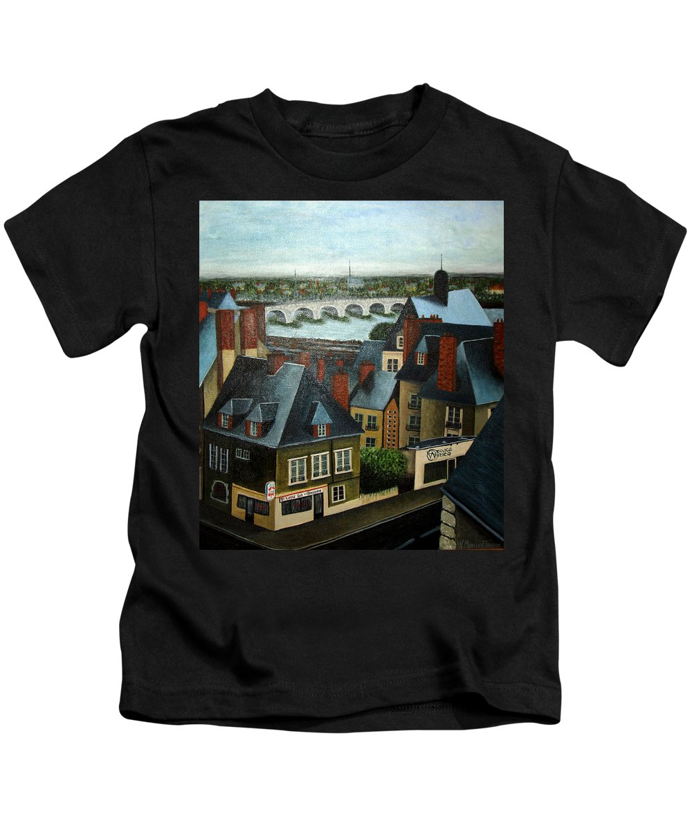 Acrylic Kids T-Shirt featuring the painting Saint Lubin Bar In Lyon France by Nancy Mueller