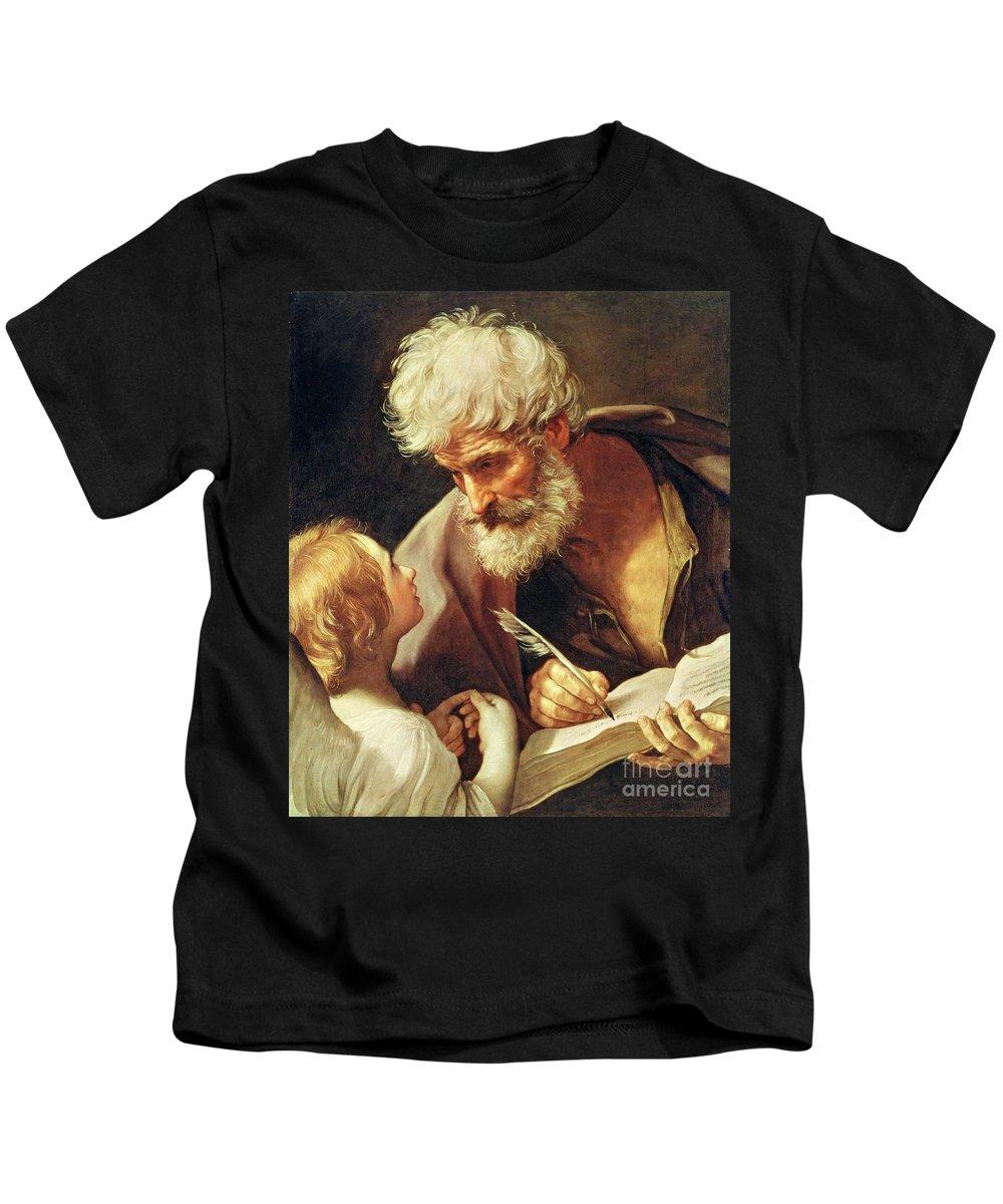 Saint Kids T-Shirt featuring the painting Saint Matthew by Guido Reni