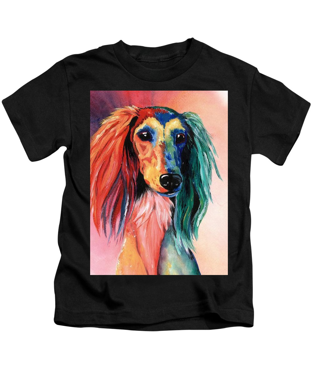 Saluki Kids T-Shirt featuring the painting Saluki Sunset by Kathleen Sepulveda