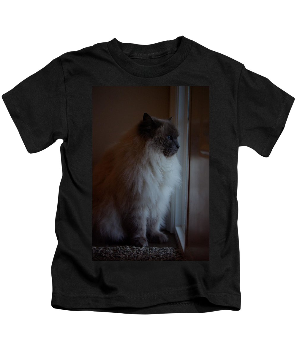 Cat Kids T-Shirt featuring the photograph Sam Waits by Cindy Johnston