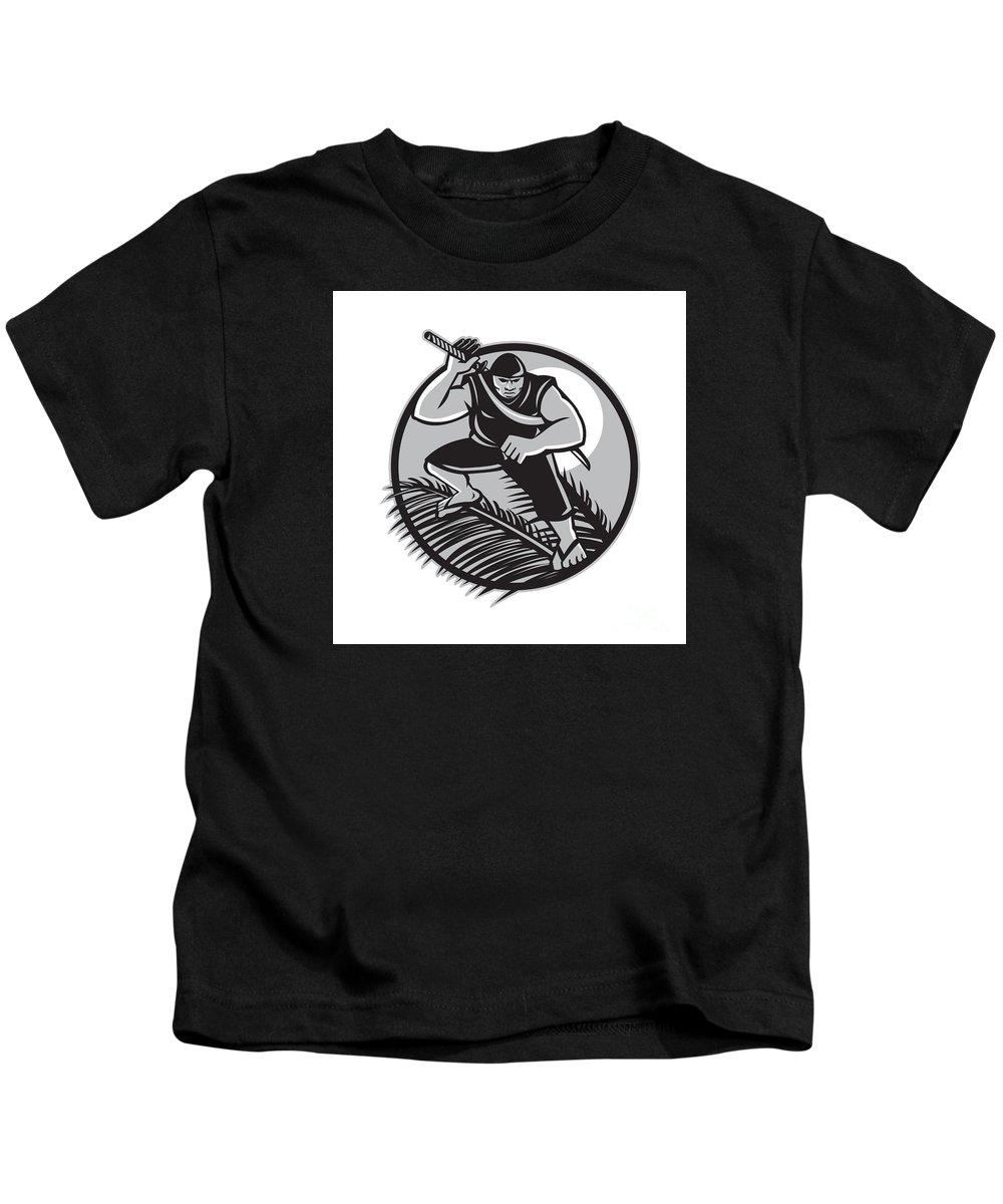 Samoan Kids T-Shirt featuring the digital art Samoan Ninja On Top Of Coconut Front Circle by Aloysius Patrimonio