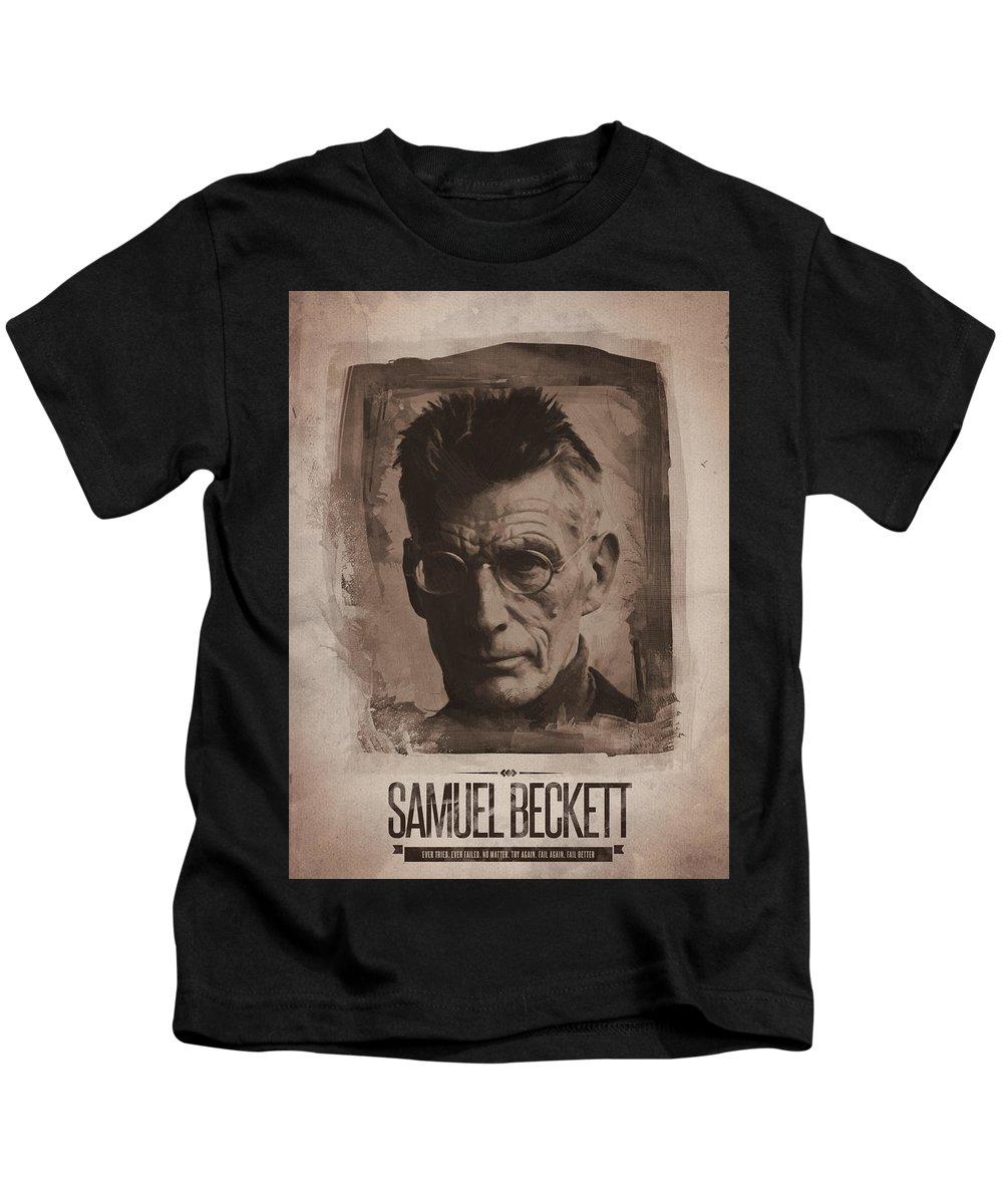 Samuel Beckett Kids T-Shirt featuring the digital art Samuel Beckett 01 by Afterdarkness