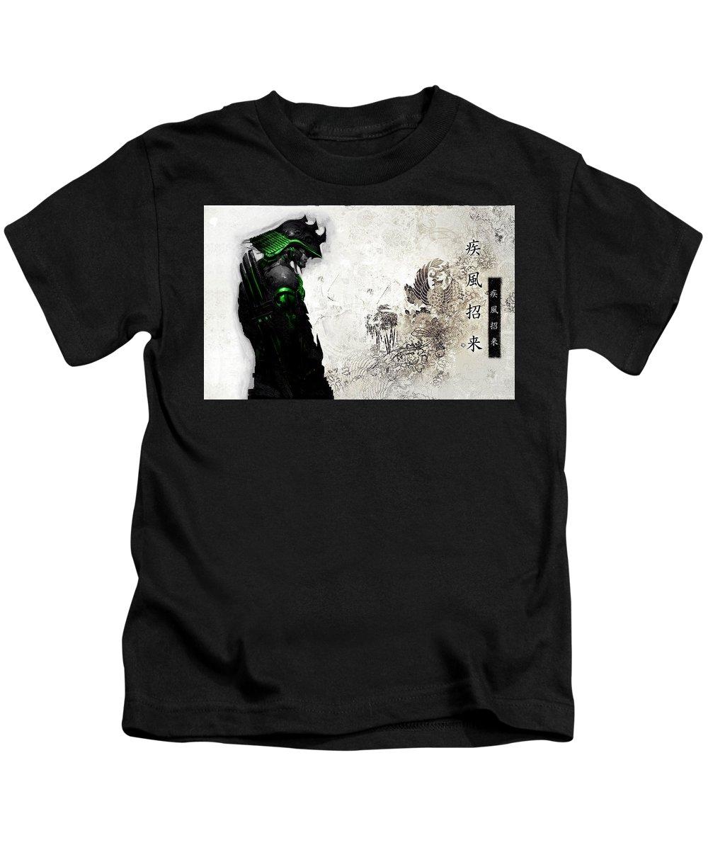 Samurai Kids T-Shirt featuring the digital art Samurai by Dorothy Binder