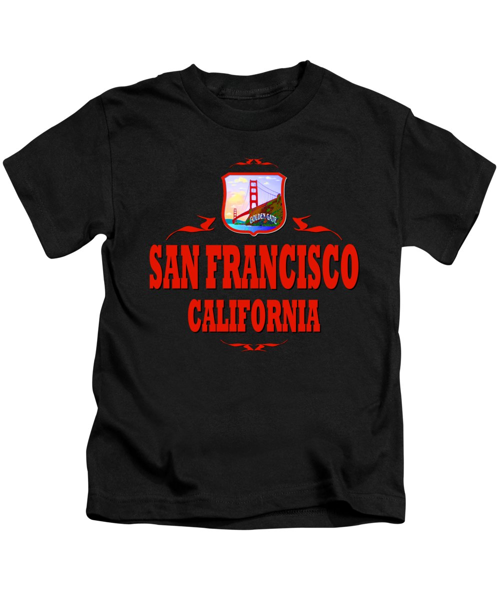 Sanfrancisco Kids T-Shirt featuring the mixed media San Francisco California Golden Gate Design by Peter Potter
