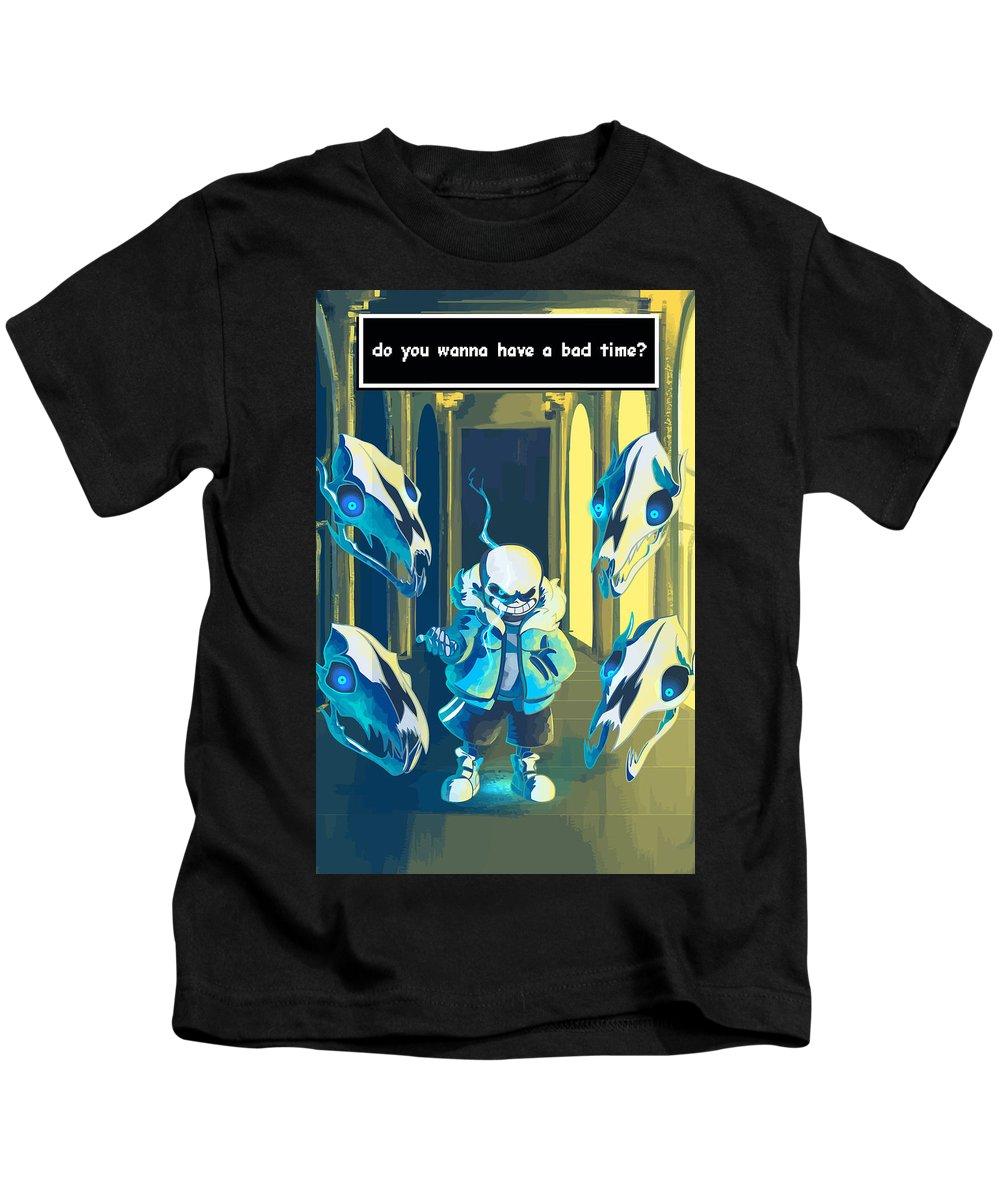 Undertale Kids T-Shirt featuring the digital art Sans by Rene Gut