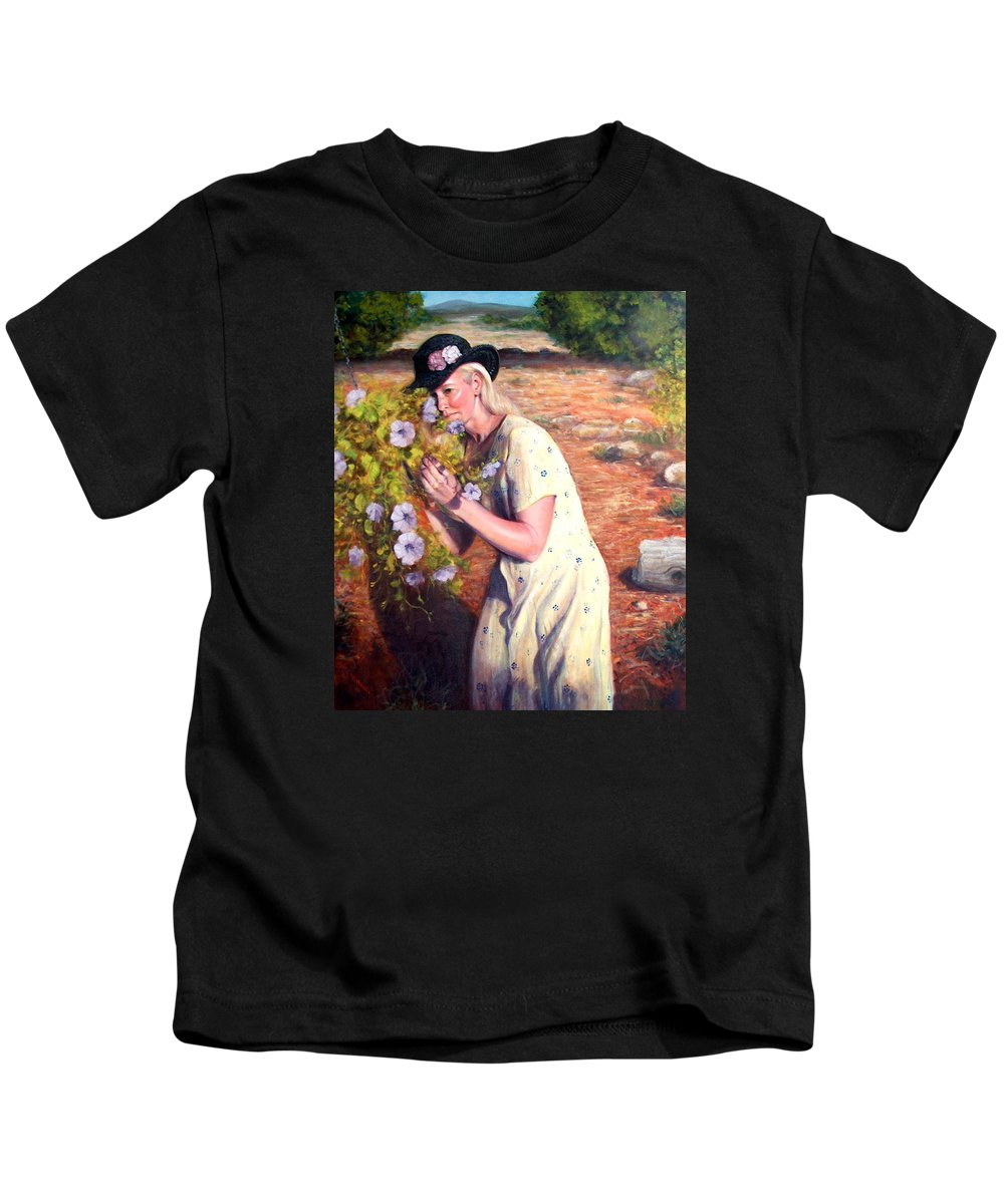 Realism Kids T-Shirt featuring the painting Santa Fe Garden 2  by Donelli DiMaria