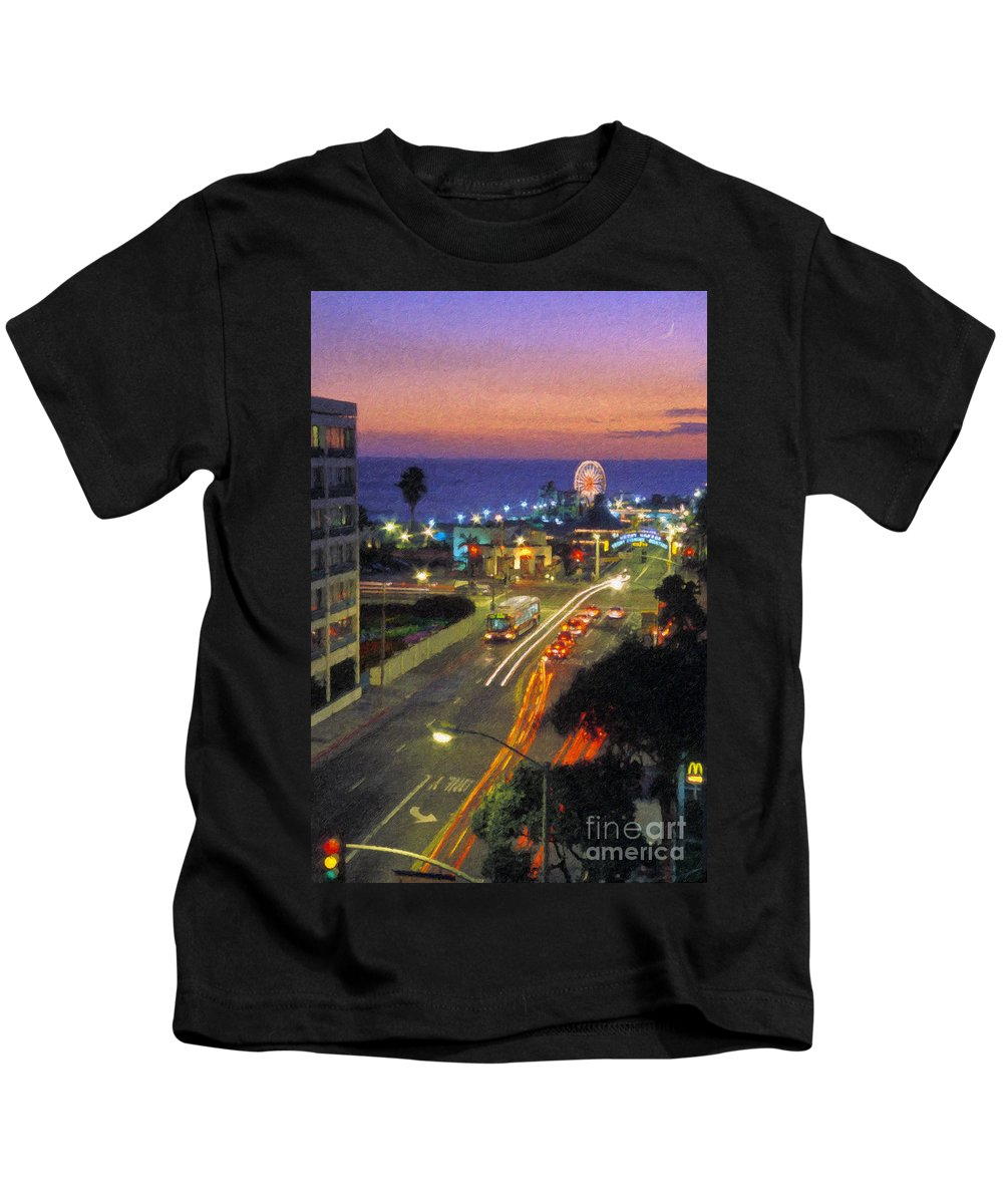 Santa Monica Ca Kids T-Shirt featuring the photograph Santa Monica Ca Pacific Park Pier Sunset by David Zanzinger