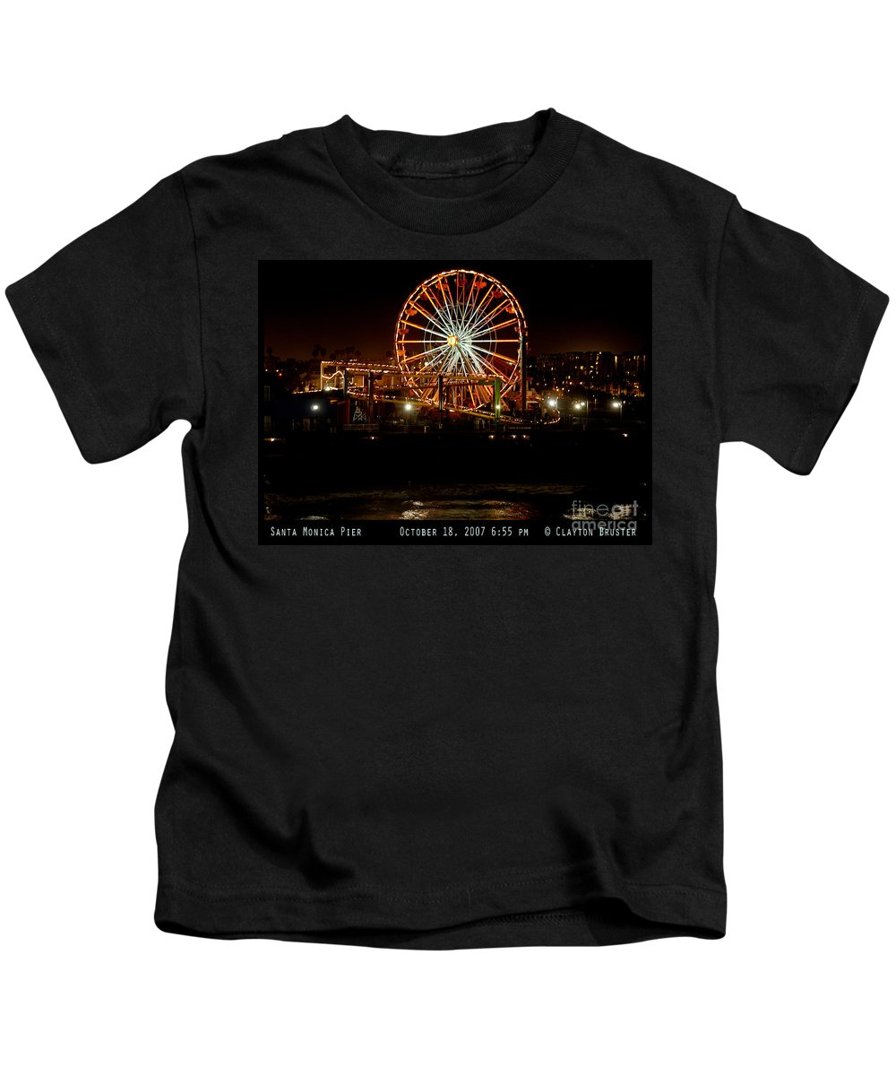 Clay Kids T-Shirt featuring the photograph Santa Monica Pier October 18 2007 by Clayton Bruster