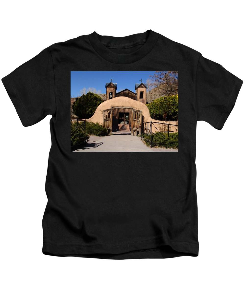 Church Kids T-Shirt featuring the photograph Santuario De Chimayo Adobe Chapel by Carol Milisen