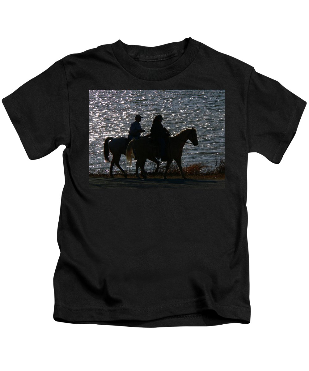 Horse Kids T-Shirt featuring the photograph Saturday Afternoon by Angela Wright