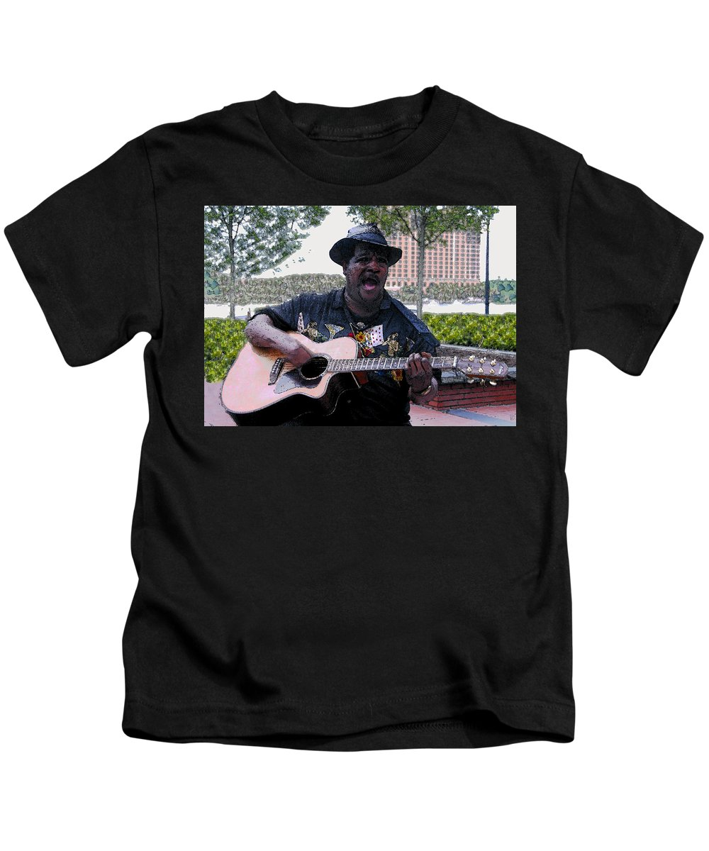 Blues Kids T-Shirt featuring the painting Savanna Blues Man by David Lee Thompson