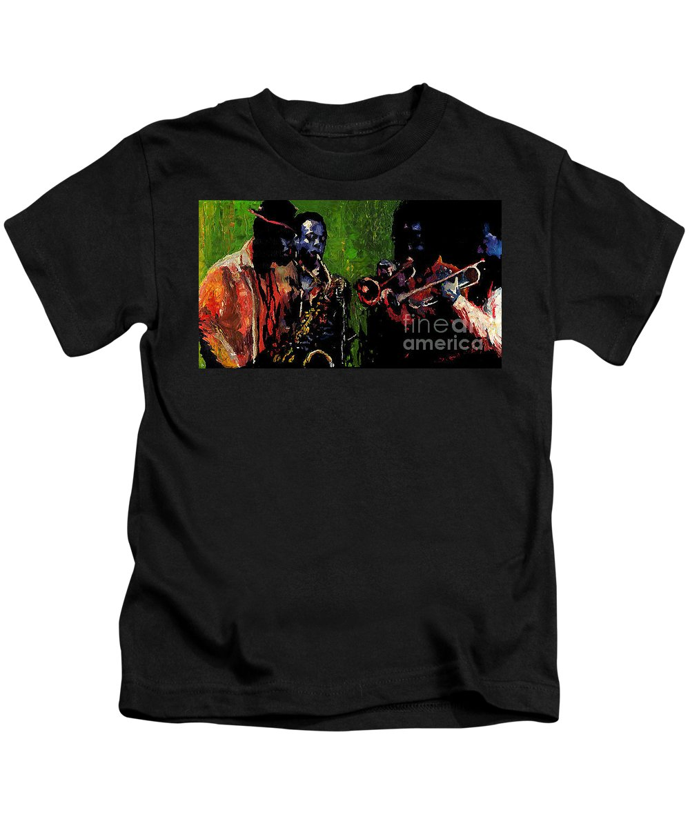 Jazz Kids T-Shirt featuring the painting Saxophon Players. by Yuriy Shevchuk