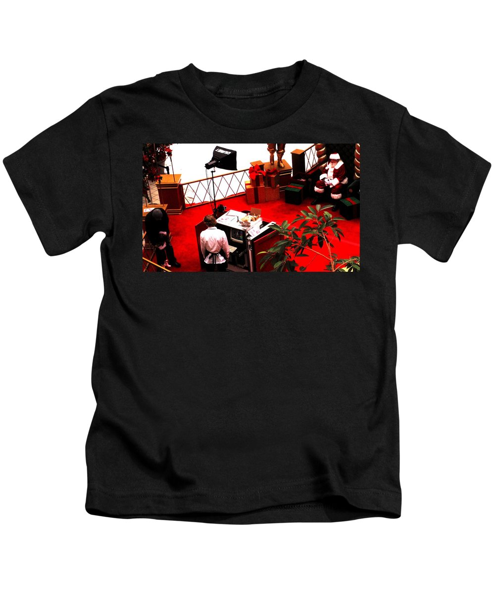 Christmas Kids T-Shirt featuring the photograph Scarey Old Guy In A Red Suit by Ian MacDonald