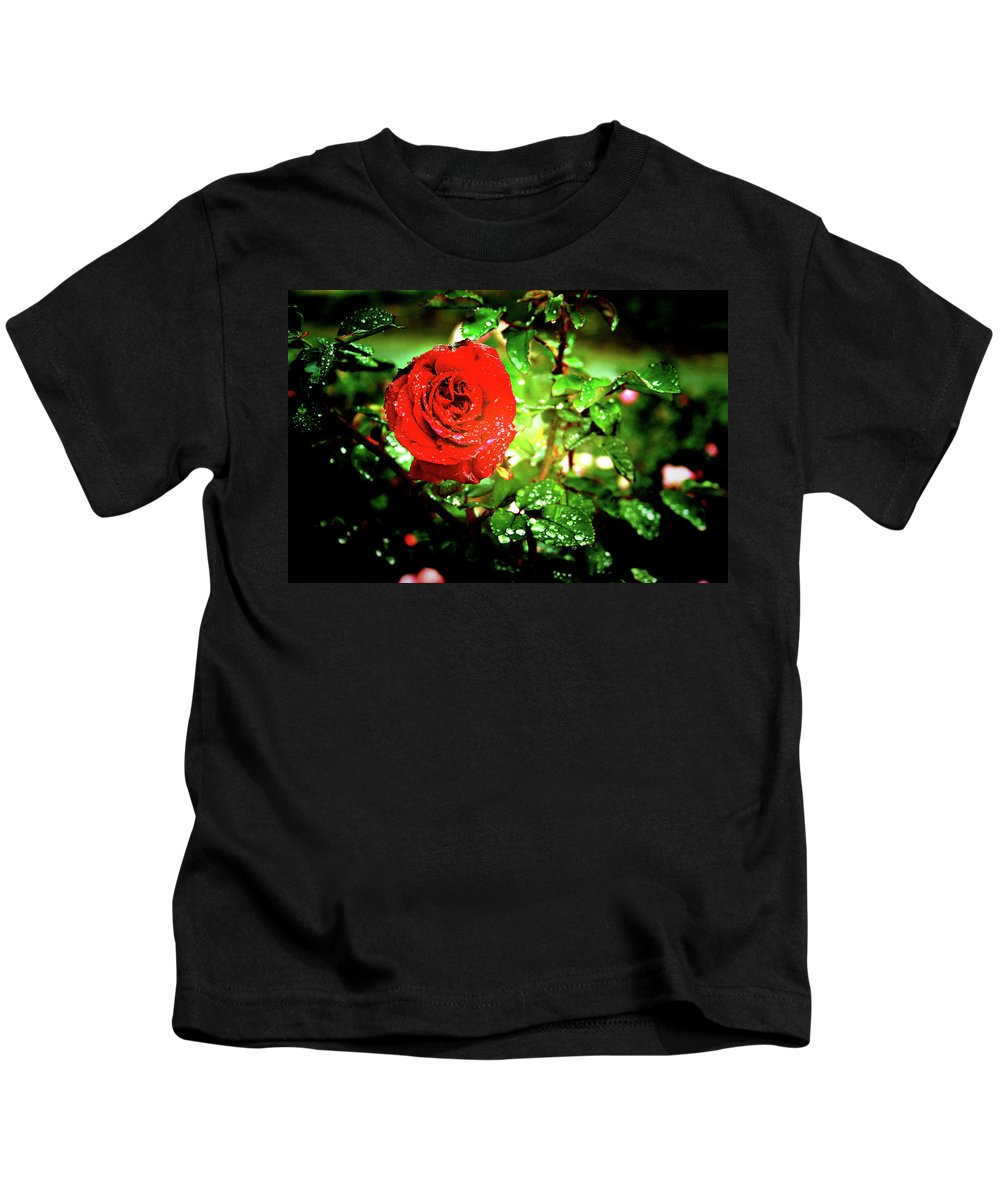 Rose Kids T-Shirt featuring the photograph Scarlet Raindrops by Douglas Barnard