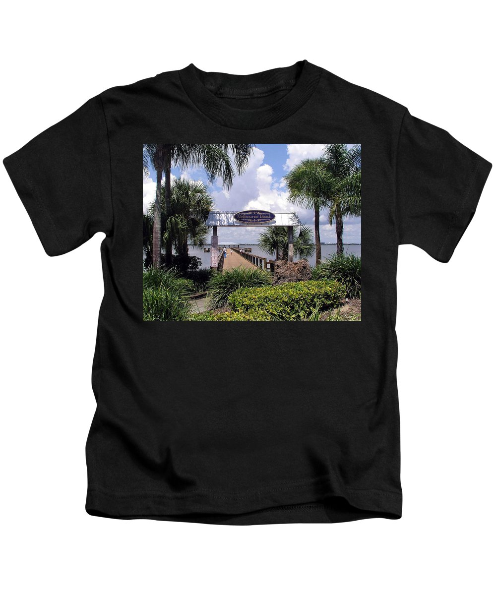 Melbourne Beach; Melbourne; Beach; Florida Usa; Brevard; Pier; Wharf; Scenic; River; Indian; Clouds; Kids T-Shirt featuring the photograph Scenic Melbourne Beach Pier Florida by Allan Hughes