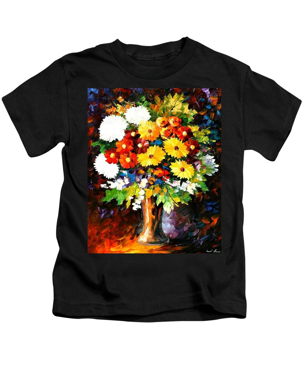 Afremov Kids T-Shirt featuring the painting Scent Of The Night by Leonid Afremov