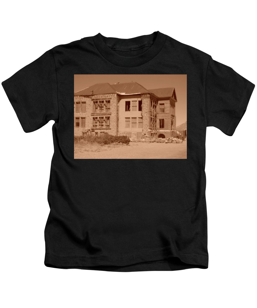 Goldfield High Kids T-Shirt featuring the photograph School Is Out by Marnie Patchett