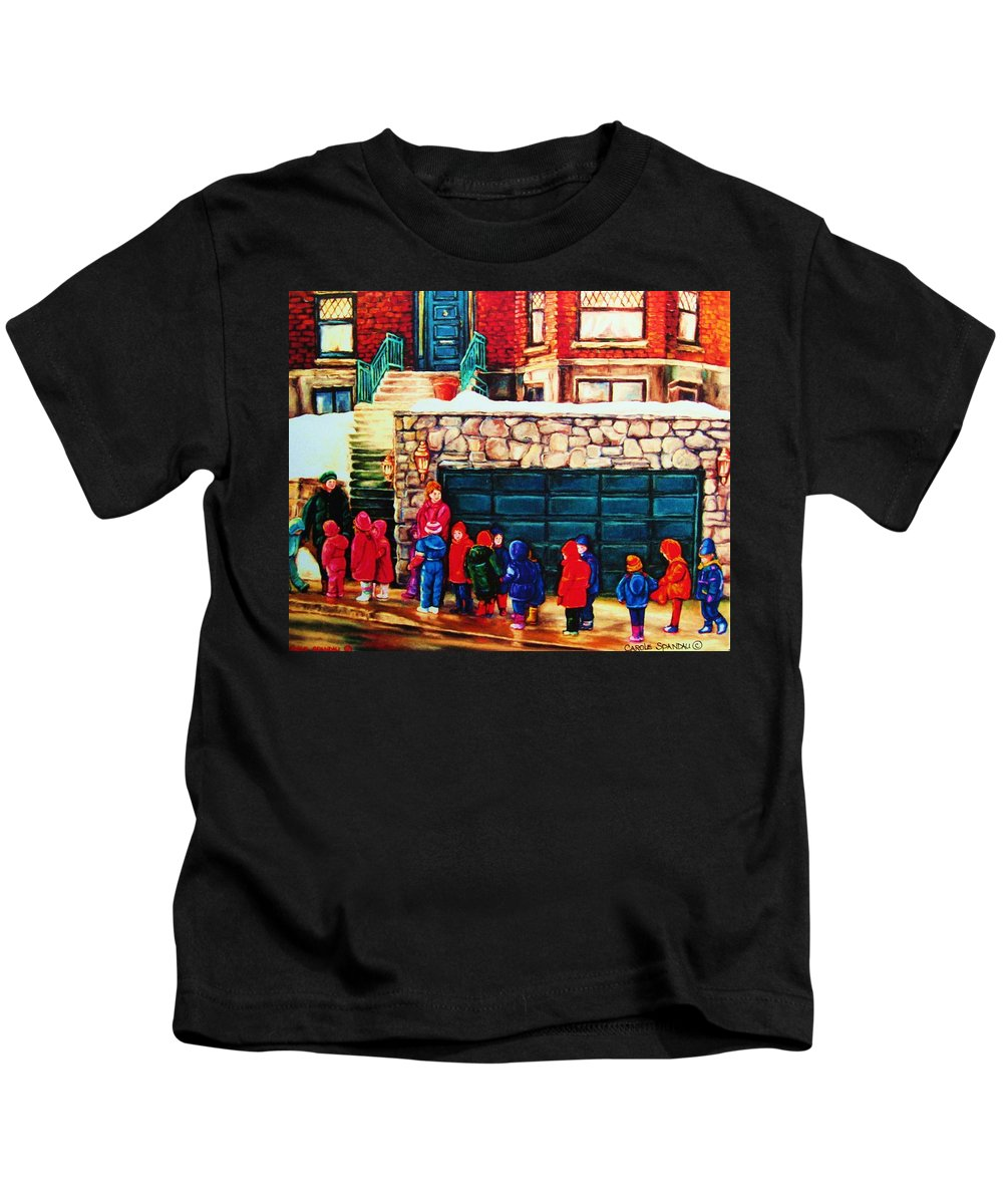 Montreal Streetscenes Kids T-Shirt featuring the painting Schools Out by Carole Spandau