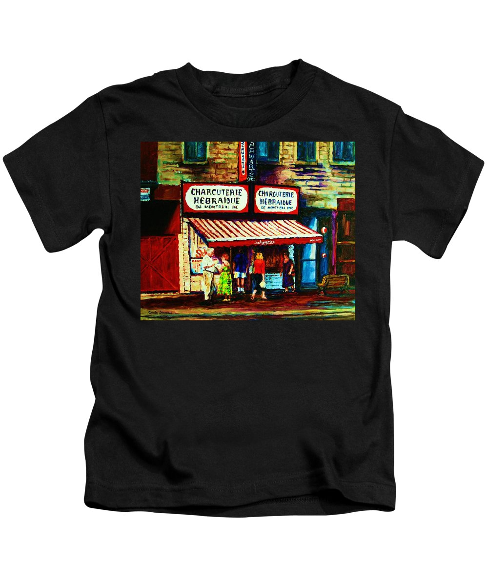 Schwartz Deli Kids T-Shirt featuring the painting Schwartzs Famous Smoked Meat by Carole Spandau