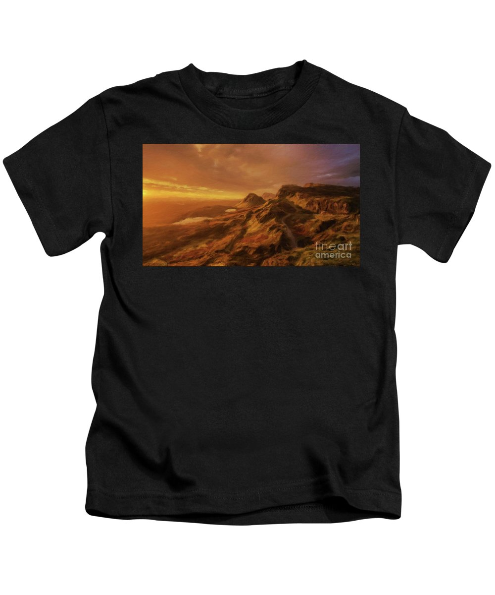 Landscape Kids T-Shirt featuring the painting Scotland, My Home by Sarah Kirk