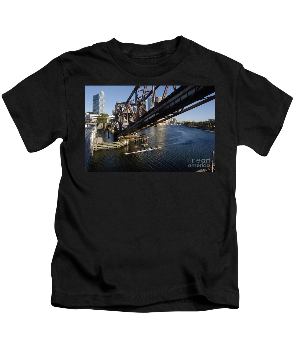 Sculling Kids T-Shirt featuring the photograph Sculling The Hillsborough by David Lee Thompson