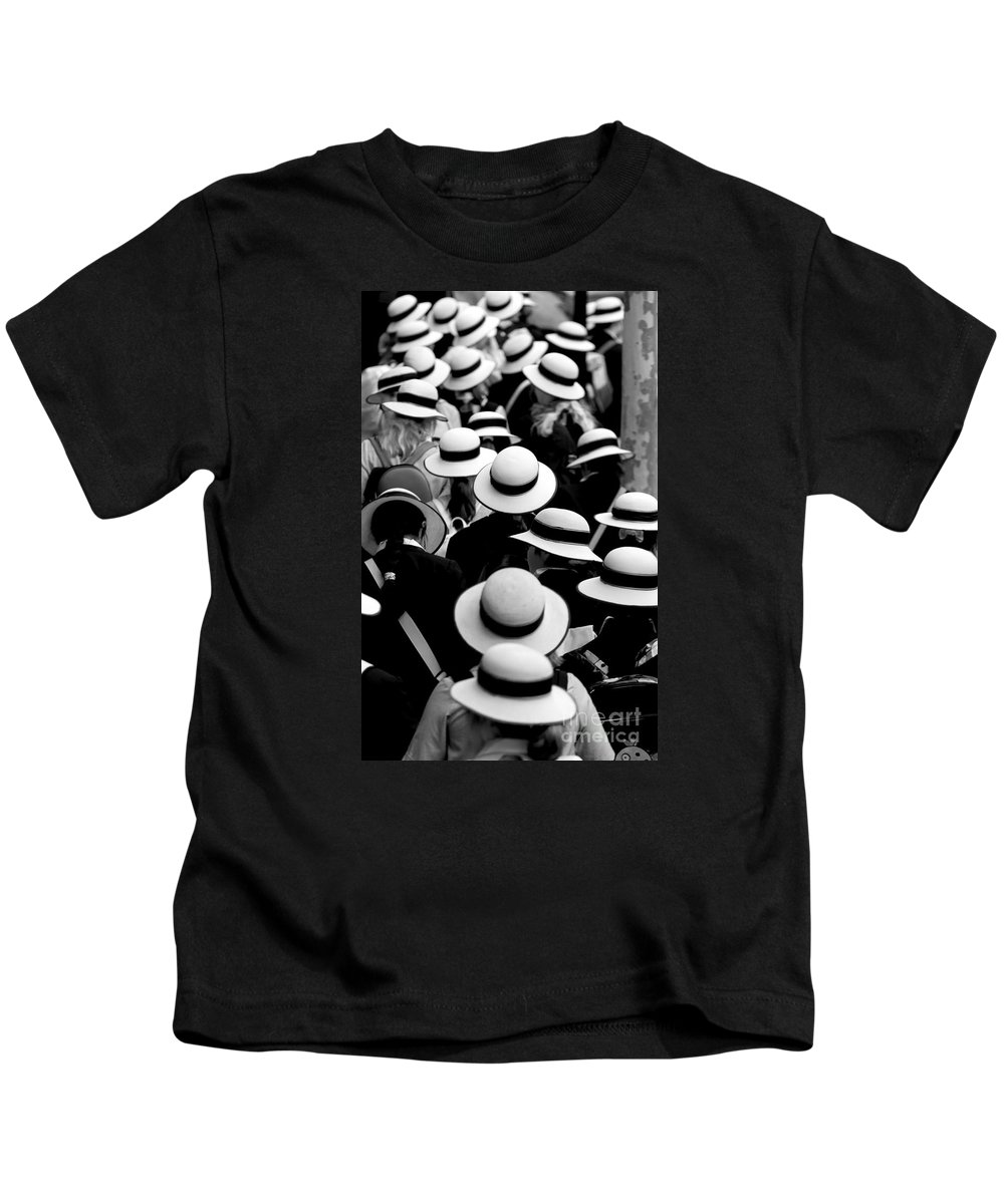 Hats Schoolgirls Sea Of Hats Kids T-Shirt featuring the photograph Sea of Hats by Sheila Smart Fine Art Photography