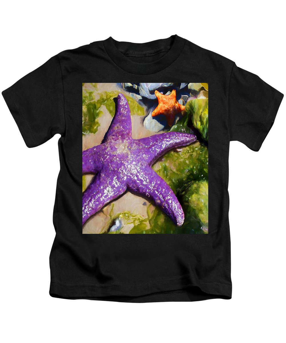 Sea Stars Kids T-Shirt featuring the painting Sea Stars by David Wagner