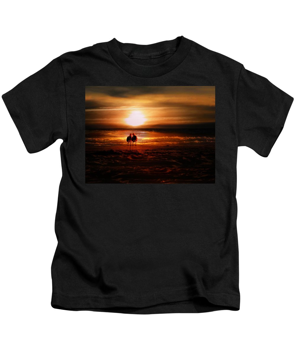 Sunrise Kids T-Shirt featuring the digital art Seagulls On The Beach by Gravityx9 Designs