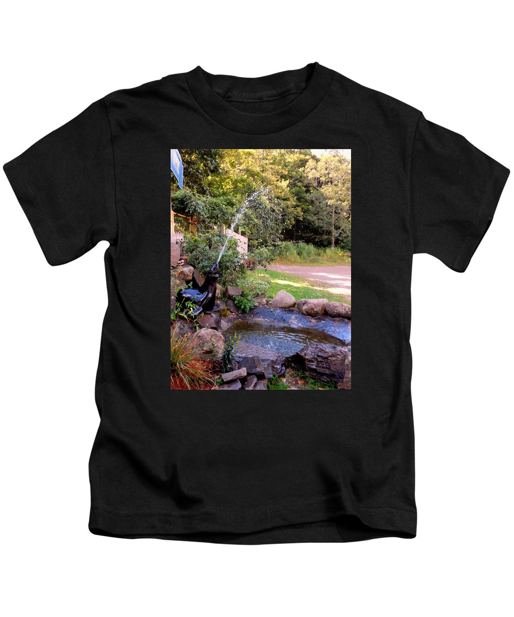 Seal Statue Fountain Kids T-Shirt featuring the painting Seal Statue Fountain 1 by Jeelan Clark