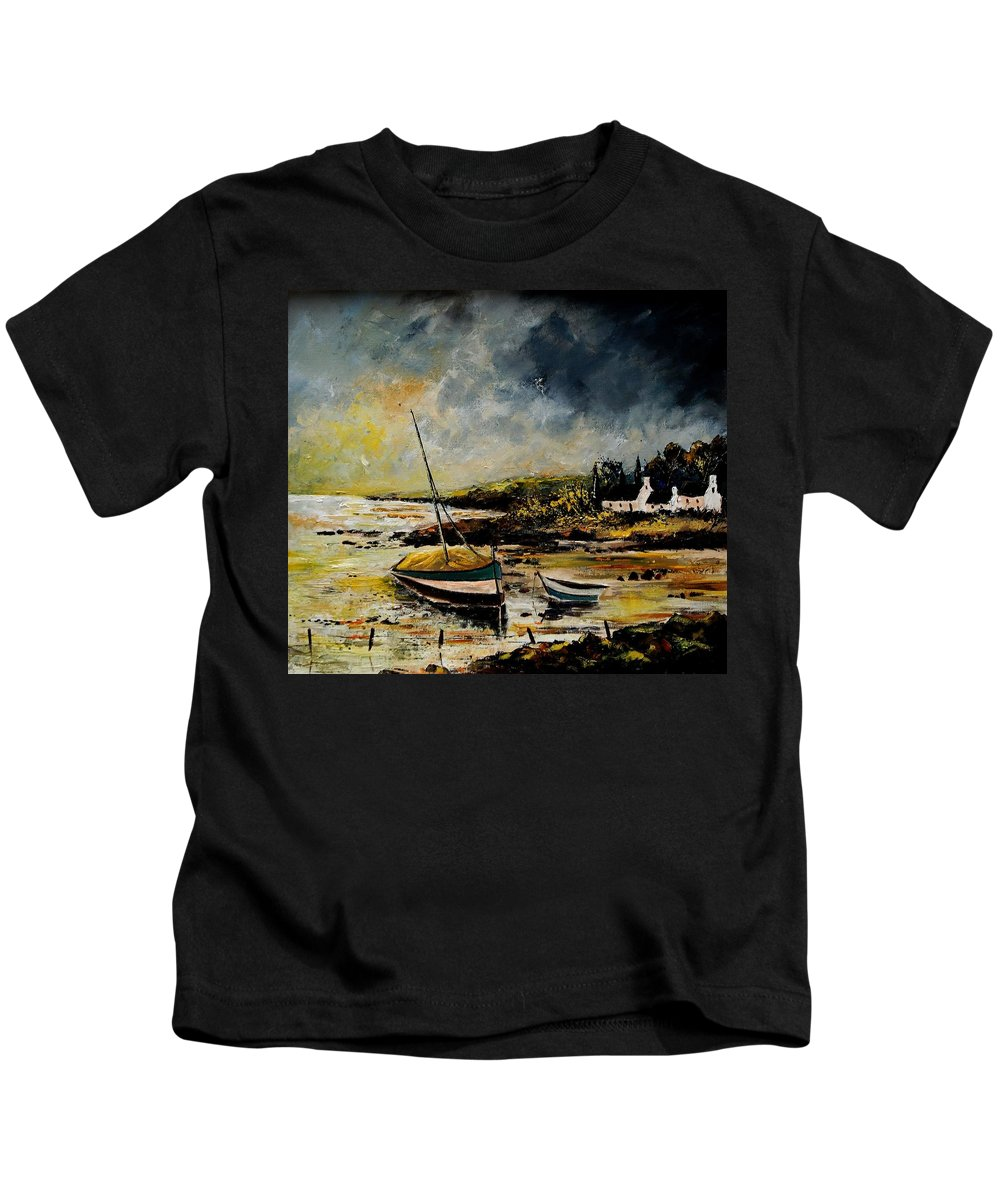 Sea Kids T-Shirt featuring the painting Seascape 452654 by Pol Ledent