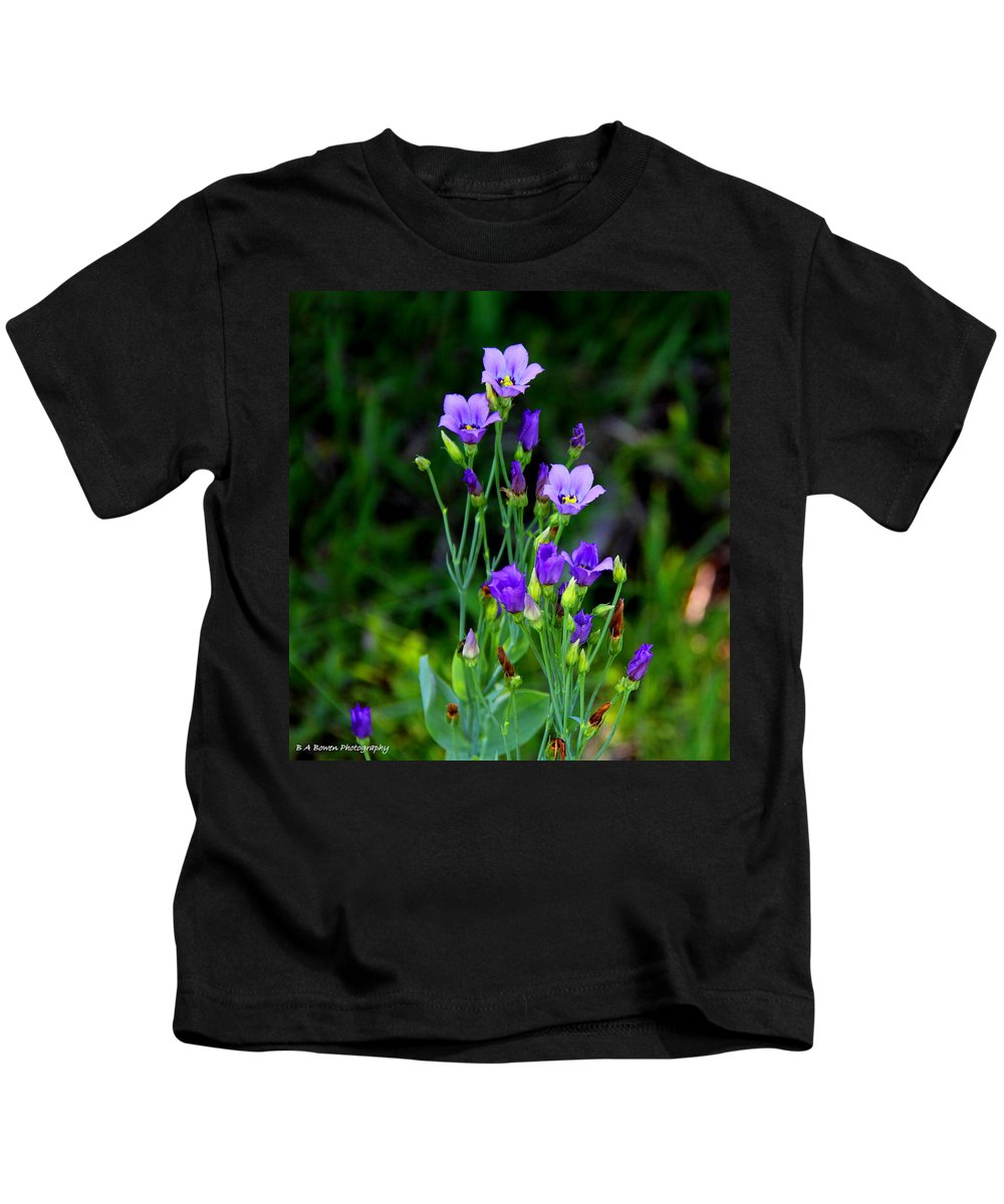 Seaside Gentian Wildflower Kids T-Shirt featuring the photograph Seaside Gentian Wildflower by Barbara Bowen