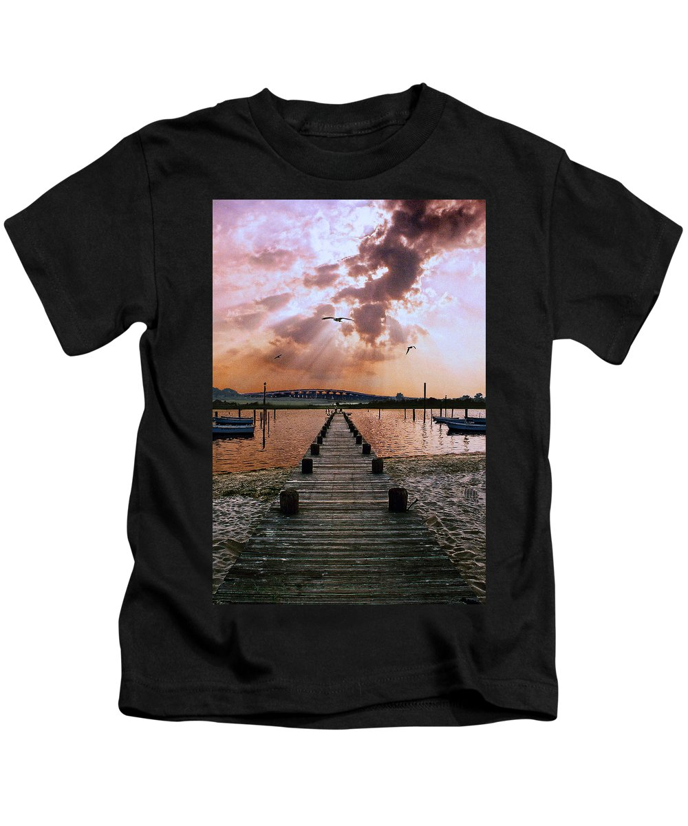 Seascape Kids T-Shirt featuring the photograph Seaside by Steve Karol