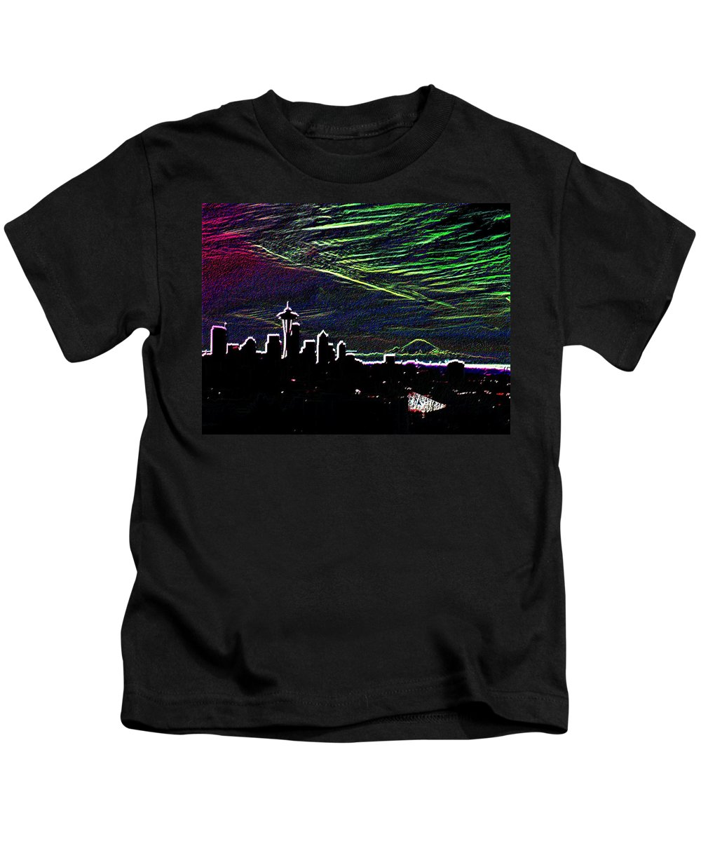 Seattle Kids T-Shirt featuring the digital art Seattle And Da Mountain by Tim Allen